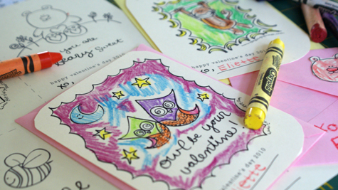 Adorable Valentine's Colouring Cards