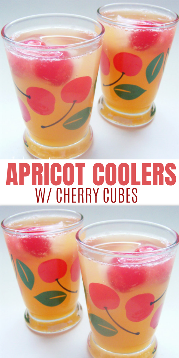 Apricot Coolers with Cherry Ice Cubes Drink Recipe