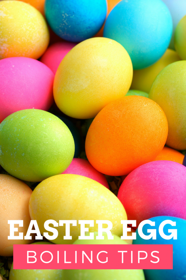 Easy Easter Egg Boiling Tips - I saw these tips in an email newsletter from Juicy Juice (in 2010) and thought it would be great to share. I know half of my eggs always come out cracked and uncolored, so I hope this helps you, too!  1. Instead of putting your eggs in the pot and then carrying the pot to the sink to fill with water, use a pitcher to fill the pot ON the stove, this saves the eggs from moving around, thus reducing the movement which may cause cracking.  2. If you put your eggs in the pot after boiling the water, use kitchen tongs to place the eggs, so they don't hit the bottom of the pan or other eggs.  3. Use a pin to poke a hole at the large end of the egg to help air escape while cooking.  4. Let your eggs get to room temperature before boiling, this reduces drastic temperature changes, reducing the chance of cracking.