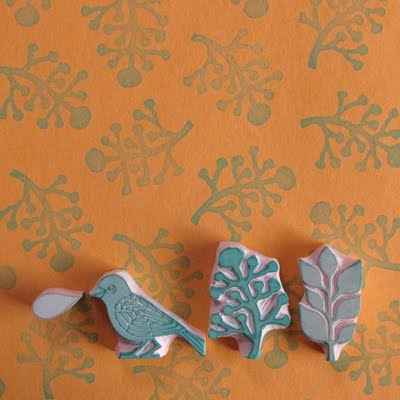 bird fern plant stamps