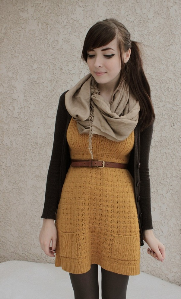 sweater tights scarf fall fashion