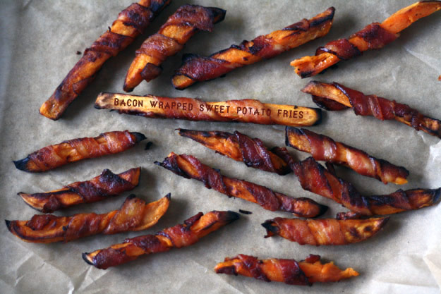 bacon wrapped sweet potato fries paleo recipe
