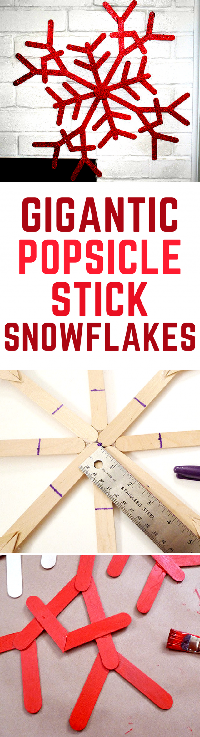 Make these diy big snowflakes out of popsicle sticks for a Christmas holiday craft!