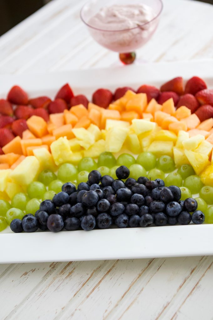 Rainbow Fruit Tray with Strawberry Fluff Fruit Dip