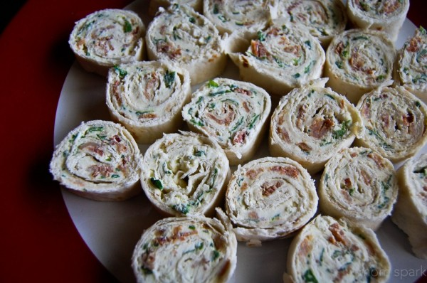 bacon spinach chive cream cheese rollups