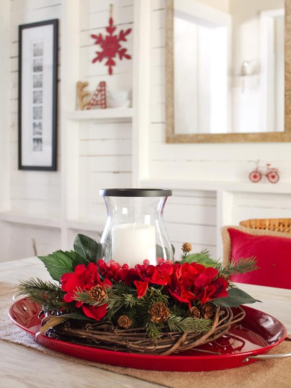 Holiday Christmas Table Centerpiece Entertaining