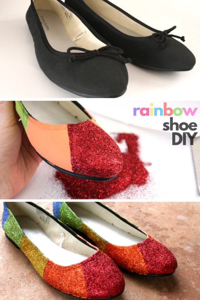 Shoe Makeover: Saint Patrick's Day Rainbow Glitter Flat Tutorial