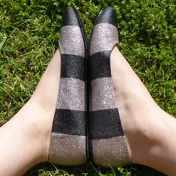 Jailhouse Striped Glitters Shoe Makeover