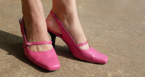 Navy to Pink Pumps Makeover