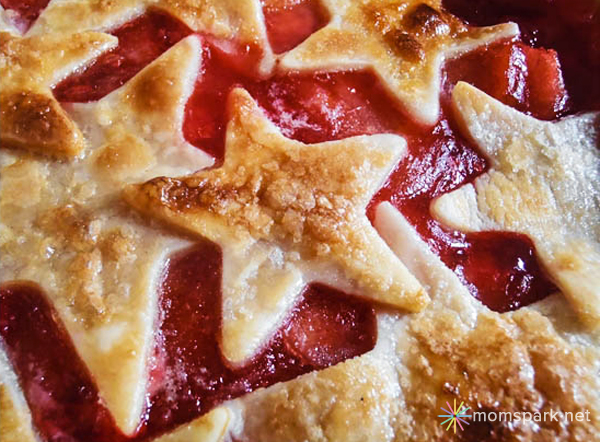 Red Hot Cinnamon Star Apple Pie with Vanilla Ice Cream - July Forth Pie