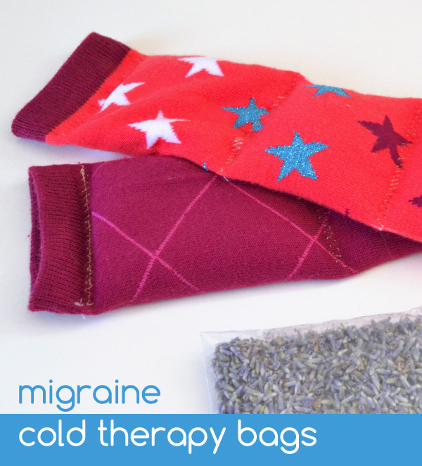 Migraine cold therapy bags out of socks!