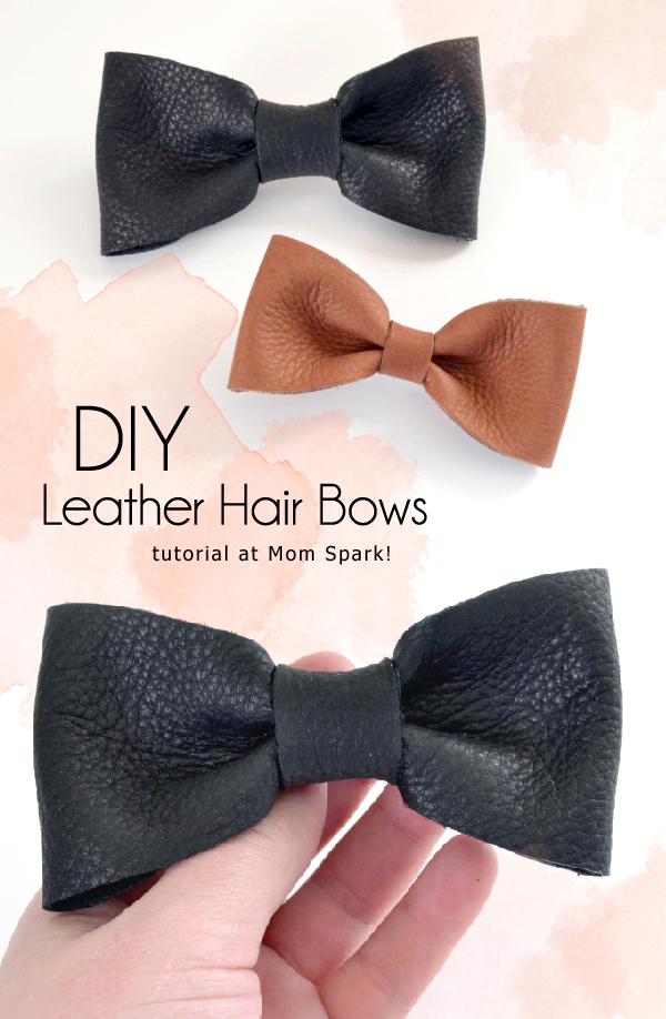 Leather Hair Bow largeBlack  |REDUCED medium Genuine leather small
