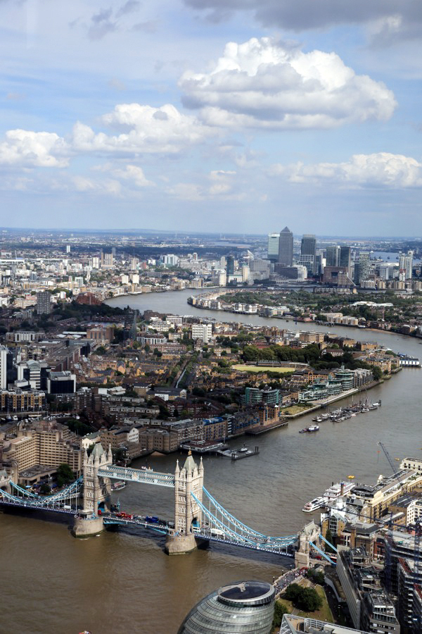 View from The Shard in London, England.