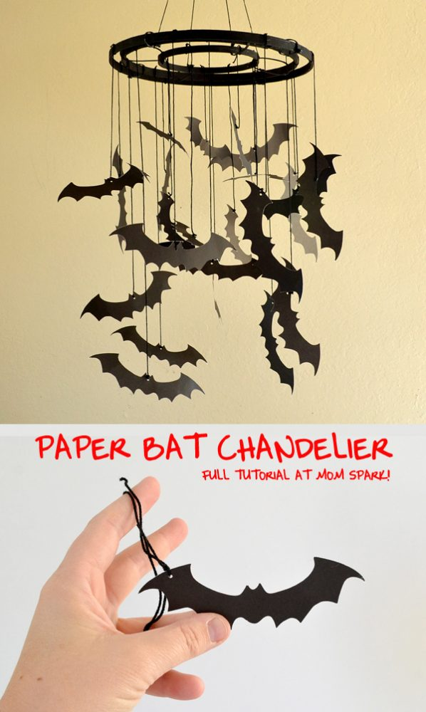 Make this super fun DIY Paper Bat Chandelier for this Halloween. Great decoration and project for kids and adults!