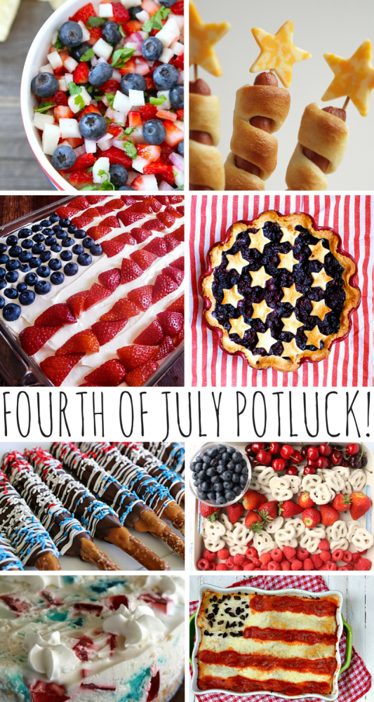 Fourth Of July Potluck Recipes! Heading to a potluck this Fourth of July? Bring along something patriotic, delicious, and fun to share! Check out these tasty recipes I've scoured from around the web -- my favorite's got to be the lasagna! How about you?
