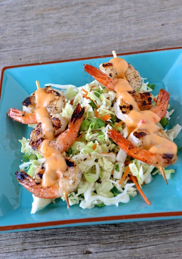 Bang Bang Grilled Shrimp Skewers
