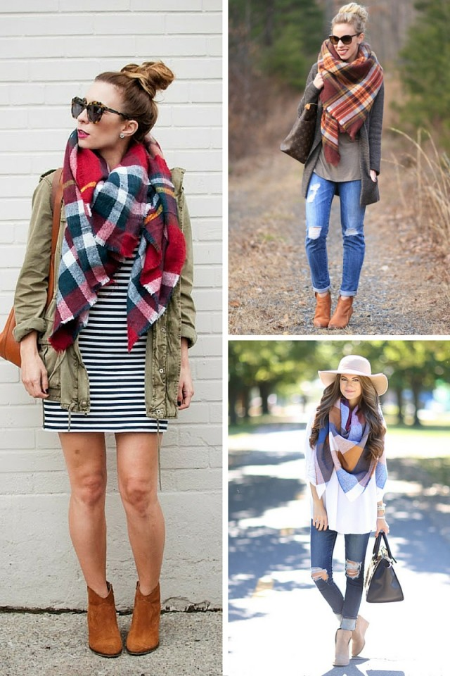 Blanket Scarf Style: 6 Outfits We Love! I've always been a little scarf obsessed, but this blanket scarf trend takes the cake. I just want to stay cozied up in layered of wool and plaid all season long. Just like these folks below! Check out their style for a little inspiration.