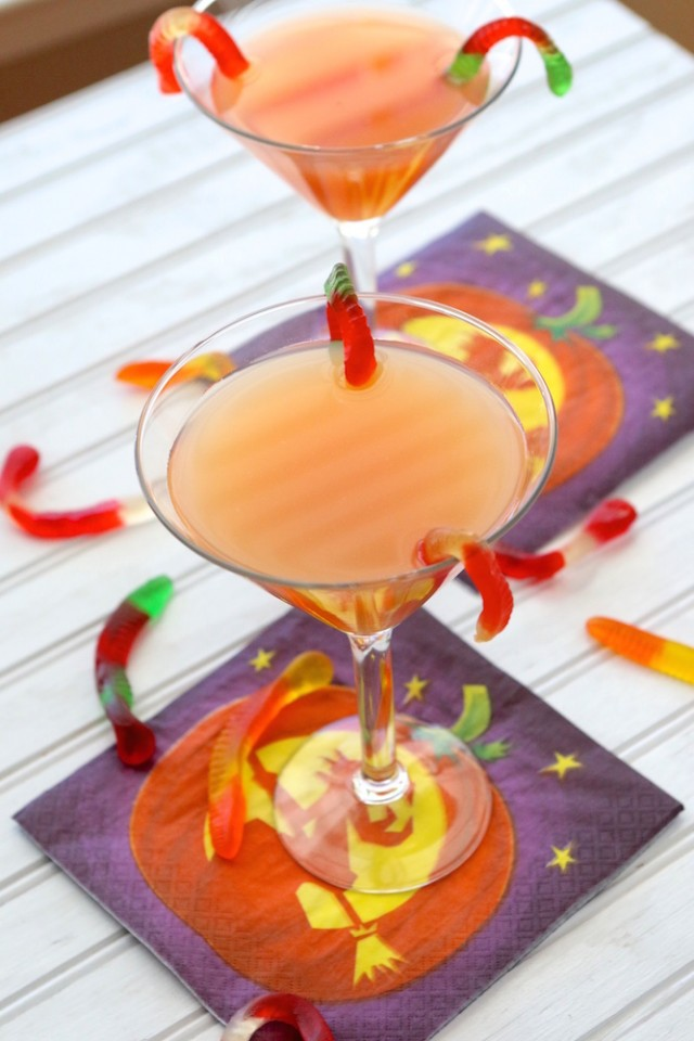"""Trick or Treat Halloween Martini Drink Recipe: To celebrate thisghoulish holiday, we have put together a deliciously sinful """"Trick or Treat Martini"""" that you (and your guests) will just go batty over. Or, should I say, wormy???"""