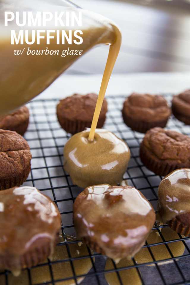 Pumpkin Muffins With Vanilla Bourbon Glaze
