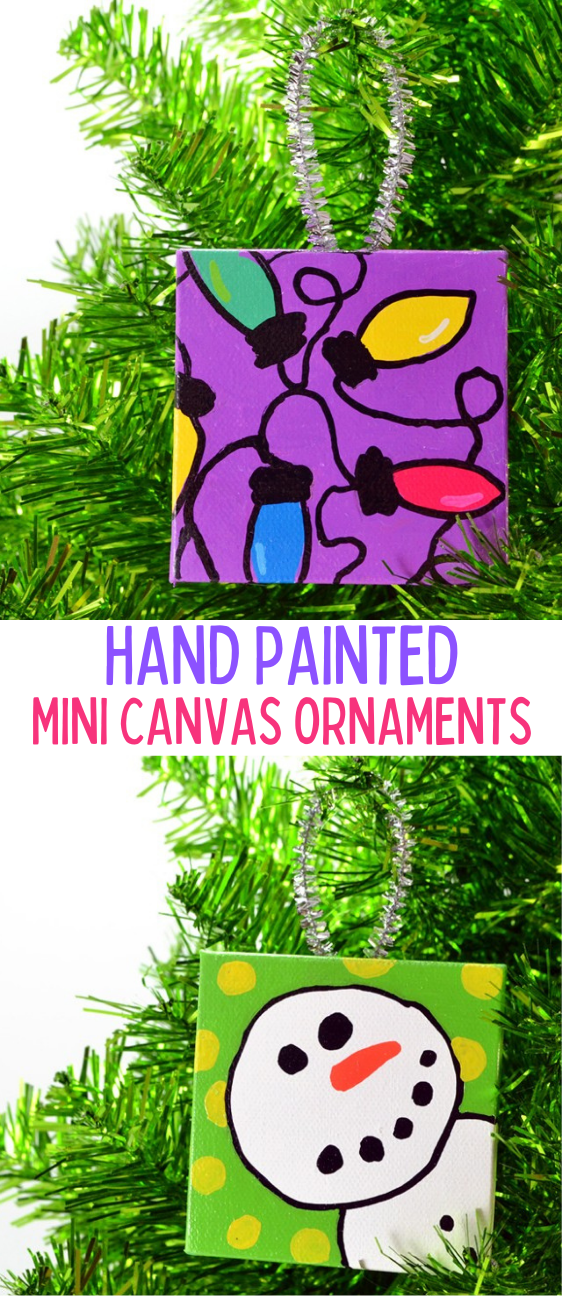 Hand Painted Mini Canvas Christmas Ornaments