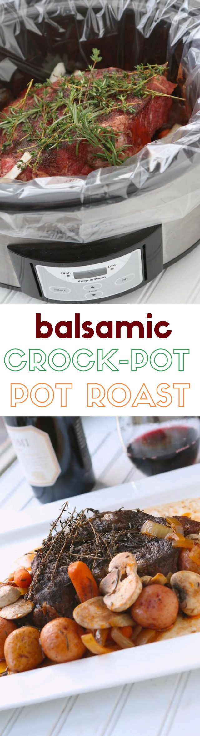 Crockpot Slow Cooker Balsamic Pot Roast Recipe - A gorgeous pot roast over flavorful mushrooms, carrots, and new potatoes - yum!