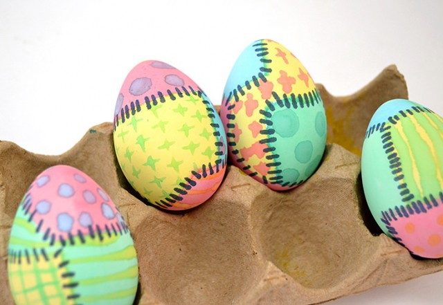 These rag quilt dyed Easter eggs are too cute and lots of fun to make!