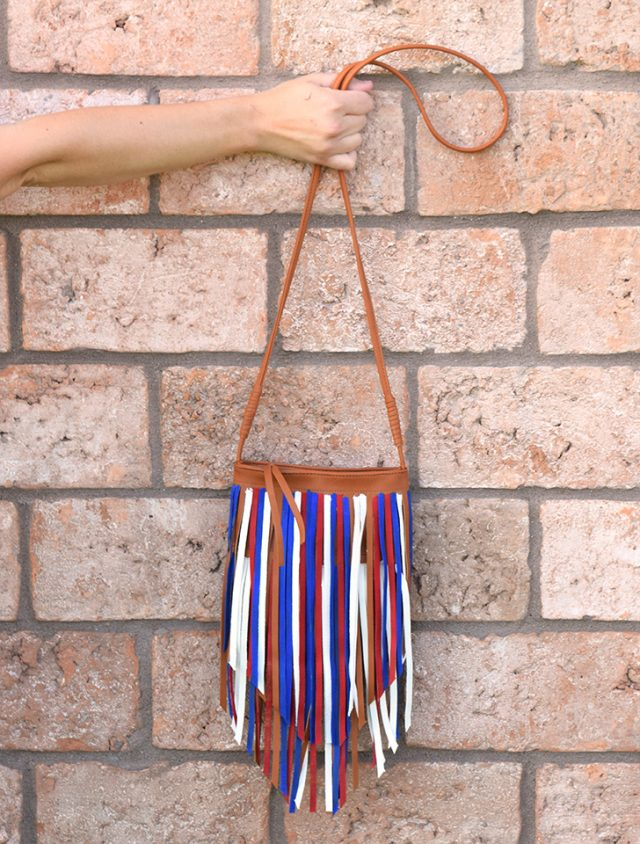 Make a fringed bag into something Patriotic and perfect for all summer!