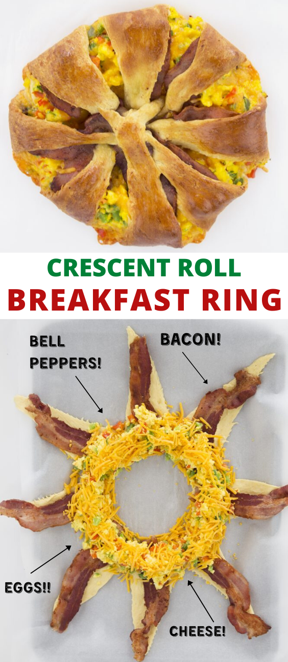 Crescent Roll Bacon, Egg, and Cheese Breakfast Ring Recipe