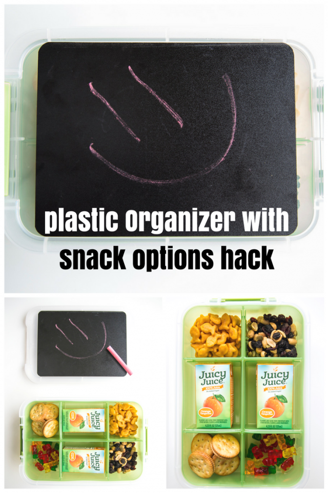We know that kids can get bored with only one snack option. This brilliant hack uses a plastic organizer to section off a variety of snack options is brilliant. Load each section up with quick snacks like peanut butter crackers, grapes and cheesy fish crackers.