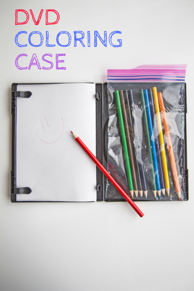 """A vacation is no place for an artist to rest. Doodling on-the-go can be a fun way for kids to take in their surroundings on a trip. Upcycle an old DVD case into a portable art station. Cut blank paper or printable coloring pages to fit the case and attach to the side with the clips. Glue a clear storage bag to the opposite side of the case and load it up with fun crayons, markers, pencils or pens. For an extra bit of fun, you could create a """"DVD cover"""" for that trip so their special drawings become an instant souvenir keepsake!"""