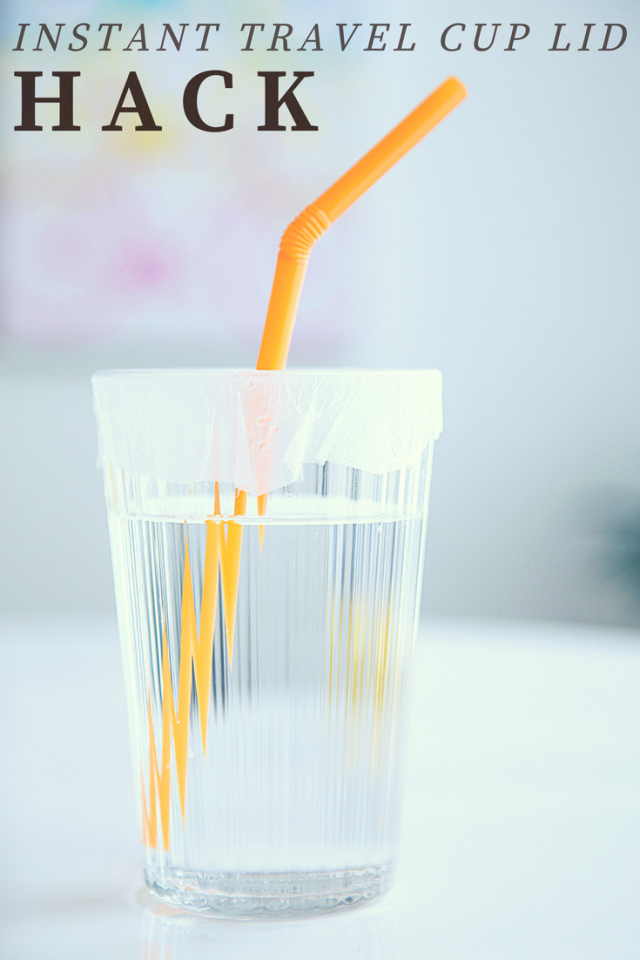Prevent spills at restaurants, on planes or in the car with this instant cup lid hack. Tightly attach press-and-seal-style plastic wrap to the lid of any cup, poking a straw through the center to create a spill-proof solution when a lidded cup is not available.