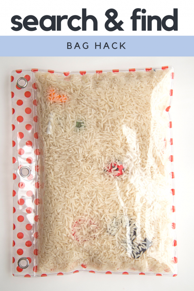 Fill a clear, three-ring pencil pouch with small toys, baubles or knick-knacks as well as a filler, like grains of rice or fake snow. Attach a photo of the little treasures to find to the back of the pouch as a key.