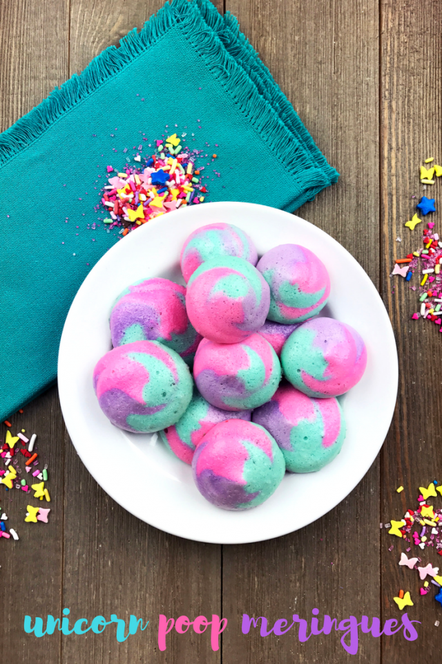 "Rainbow unicorn ""poop"" meringues. Yup, we're doing this. Soft in the middle and crispy on the outside, these meringues are fun cookie-like snacks that are perfect for your next unicorn or rainbow-themed party. Or just because they're a ton of fun to make and eat."