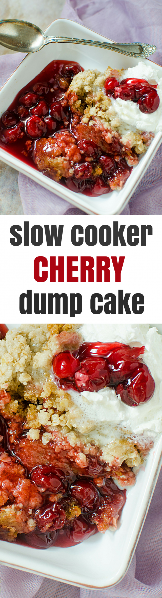 Slow Cooker Cherry Cake Mix Dump Cake Recipe The slow cooker was probably the best invention ever made. Okay, perhaps that is a bit extreme, but I am REALLY grateful for this genius appliance. There are many, many delicious dinner recipes that can be made in a Crock-pot slow cooker, but did you know that you can also make desserts? Yup, you certainly can. Like today's recipes for Slow Cooker Cherry Cake Mix Dump Cake, for example. Oh yeahhhhhhh!