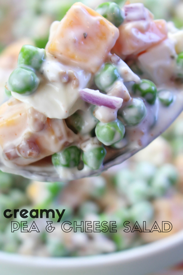 Welp, if May is really here (and it's not some kind of conspiracy), then I suppose I better share a spring recipe. It's one of my potluck and backyard BBQ favorites - Easy Creamy Pea & Cheese Salad.  Peas with cubed cheddar cheese, red onions, mozzarella cheese, mayo, and ranch dressing. It's the perfect side dish for your next family party or gathering!