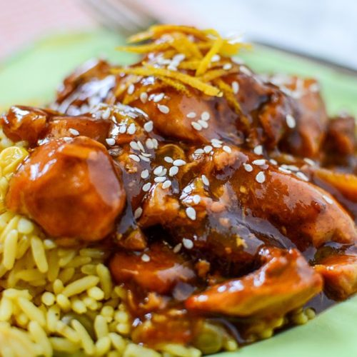 Crock-Pot Slow Cooker Orange Chicken Recipe! Chicken breast, orange marmalade, BBQ sauce and soy sauce slow cooked to perfection!