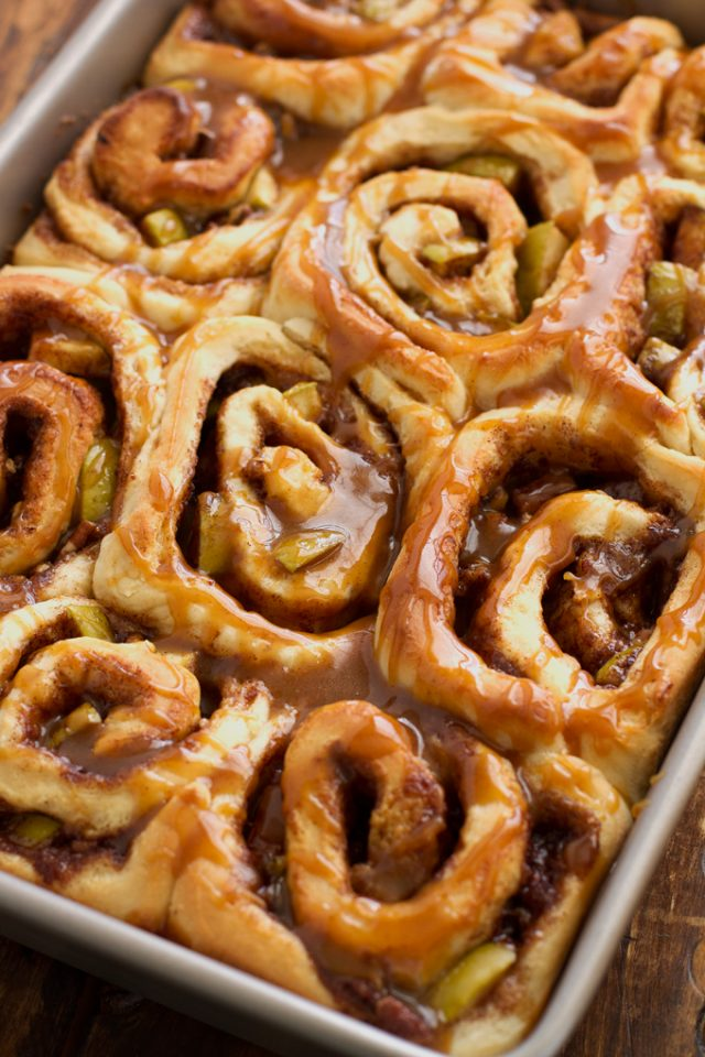 It's officially apple-picking season. Here are 20 awesome apple recipes to make this fall with all of your apples! - Caramel Apple Cinnamon Rolls