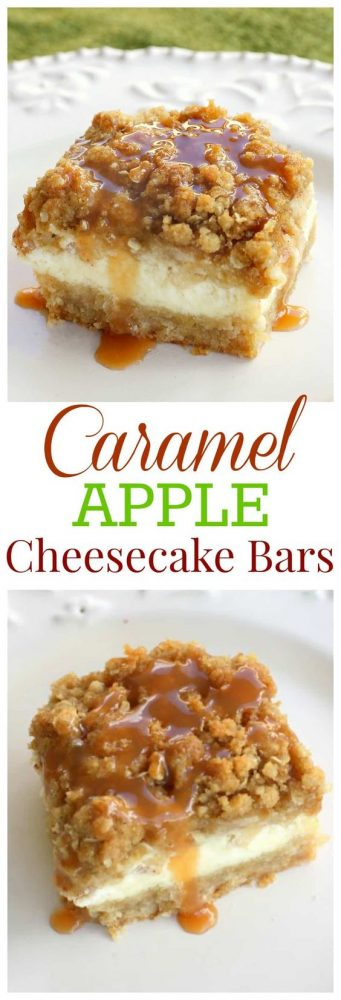 It's officially apple-picking season. Here are 20 awesome apple recipes to make this fall with all of your apples! - Caramel Apple Cheesecake Bars
