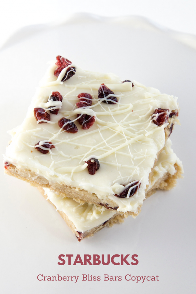 Starbucks Cranberry Bliss Bars Copycat Recipe! Did you know that you can make Starbucks Cranberry Bliss Bars from home for more than half the price? Yup. And they are THE BOMB.