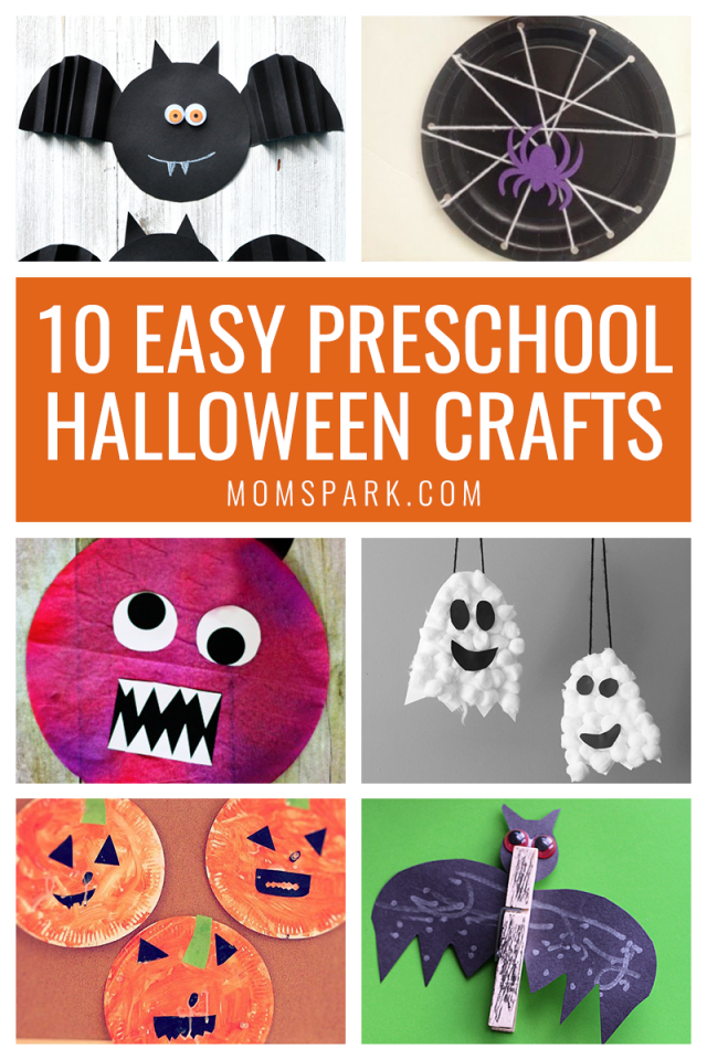 Halloween is the perfect time to craft with your preschoolers. These 10 easy crafts will get you started. #preschoolcrafts #kidcrafts #halloween