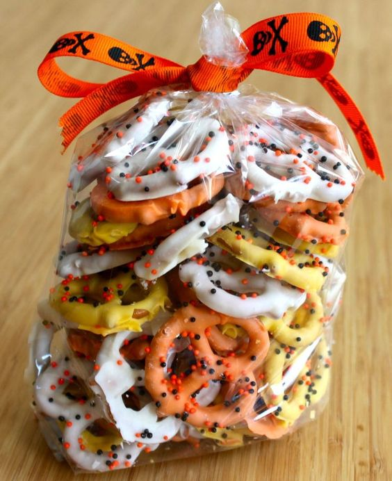 Halloween Candy Corn Inspired Chocolate Covered Pretzels Recipe