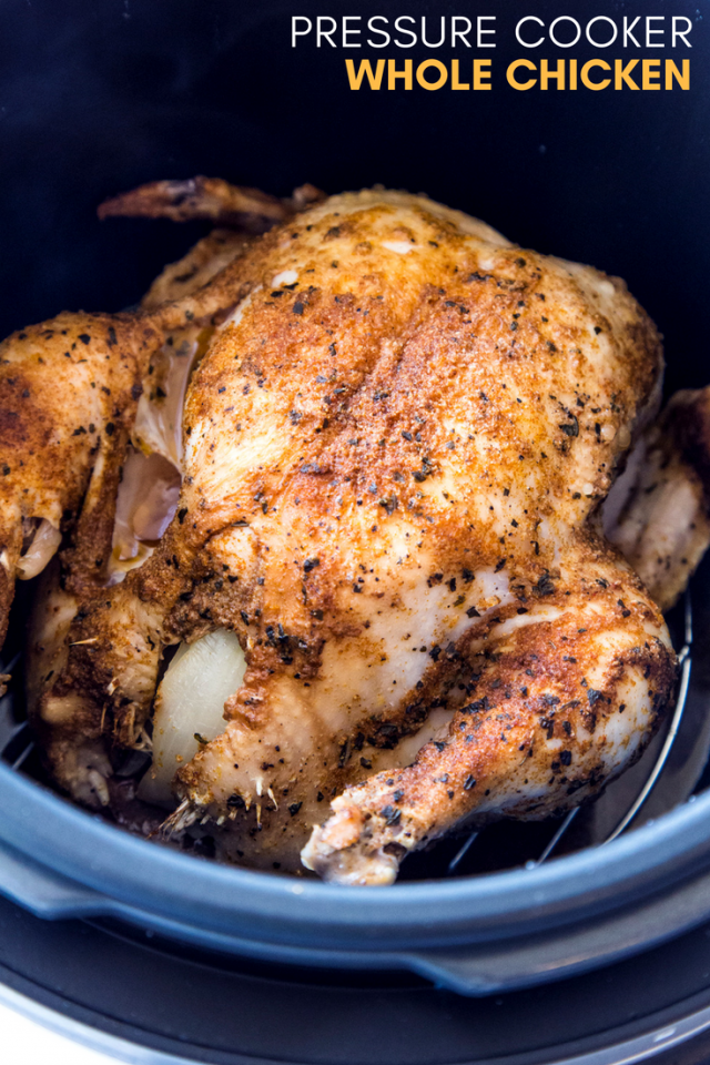 A whole chicken covered with olive oil and flavorful spices, stuffed with onion and garlic, then cooked rotisserie-style in a pressure cooker.
