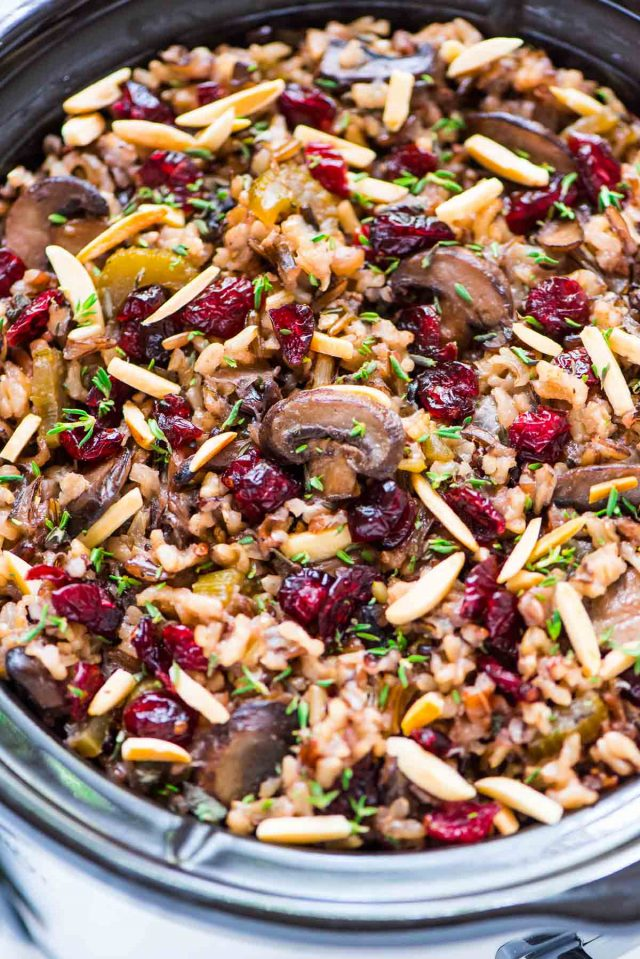 Crock Pot Stuffing with Wild Rice Cranberries and Almonds Recipe