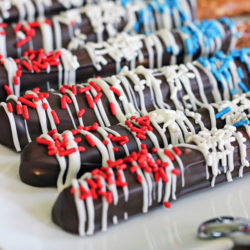 July 4th Salted Caramel and Chocolate Dipped Pretzel Rods Recipe