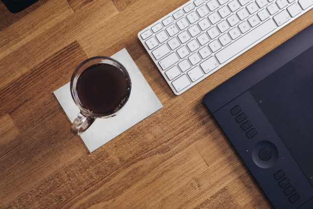 Computer with Coffee