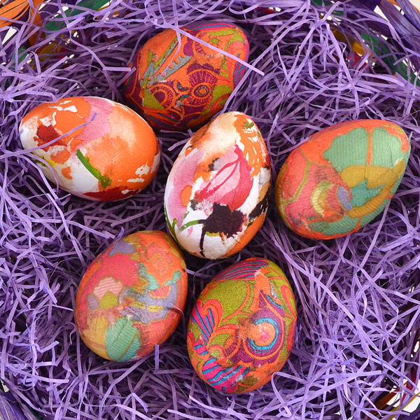 Patterned Napkin Dyed Easter Eggs