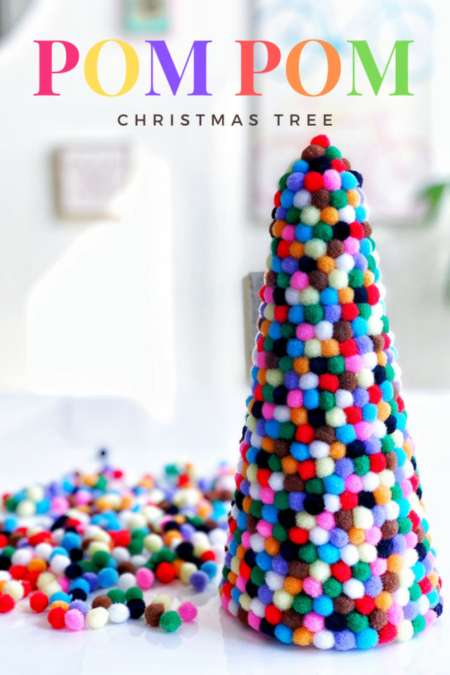 Easy Mini Pom Pom Christmas Tree DIY Craft - Great Holiday Decor Craft for Kids and Adults
