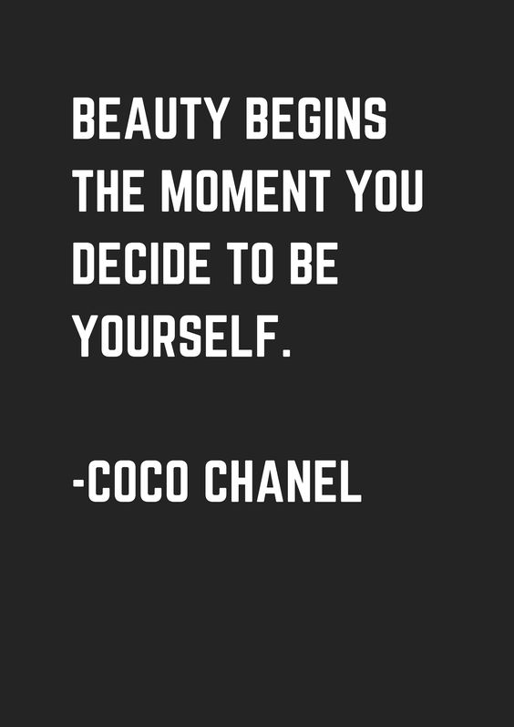 """20 Inspirational Quotes for Women: """"Beauty Begins the Moment You Decide to Be Yourself."""" via Coco Chanel"""