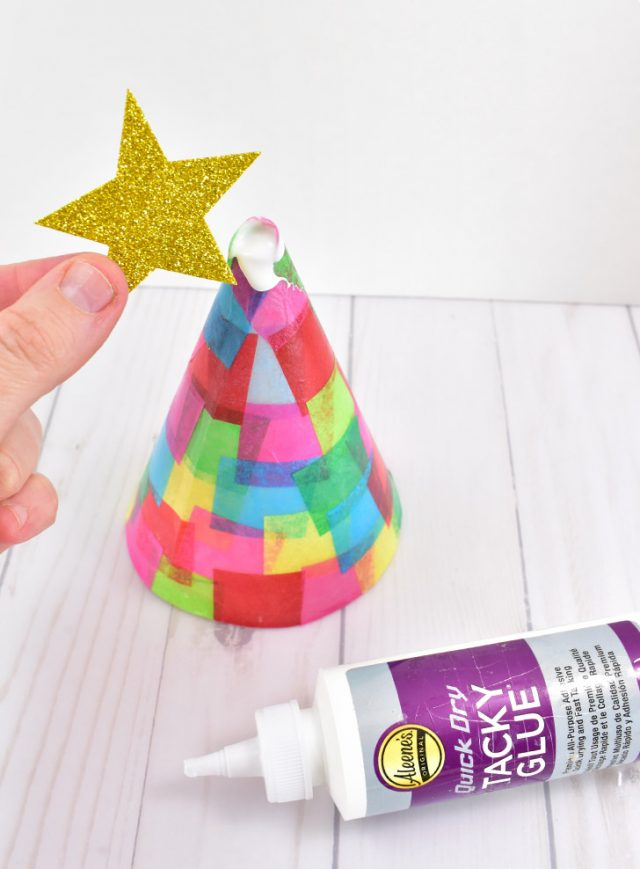 Colorfully Lit Christmas Tree Cone Craft